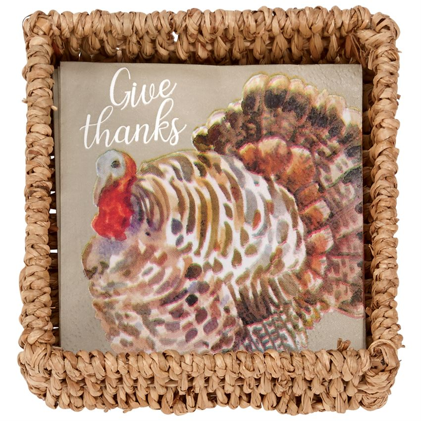 Turkey Paper Napkins In Basket - CityBarnCountryPenthouse