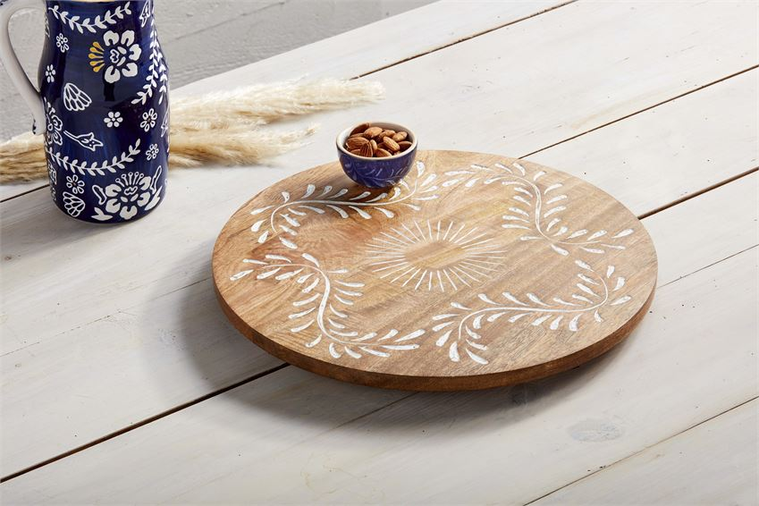 Carved Wood Lazy Susan - CityBarnCountryPenthouse