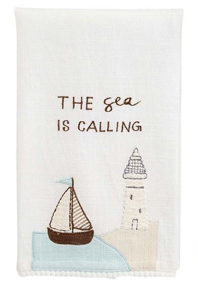 Sailboat Applique Tea Towel