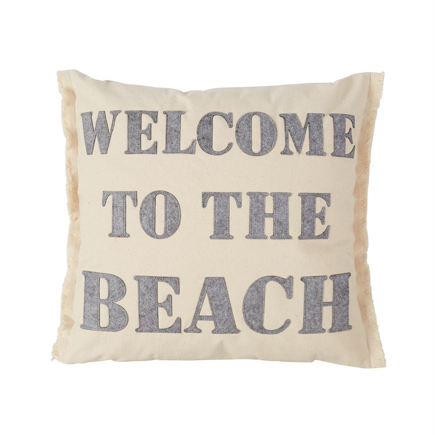 WELCOME TO THE BEACH CANVAS & FELT PILLOW