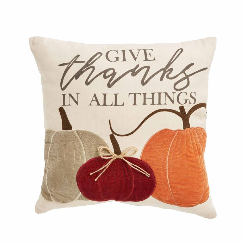 Give Thanks Velvet Pumpkin Pillow