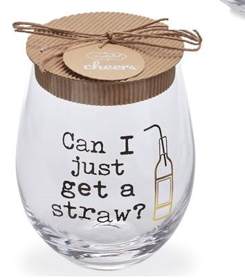 Stemless Wine Glass - Straw - CityBarnCountryPenthouse