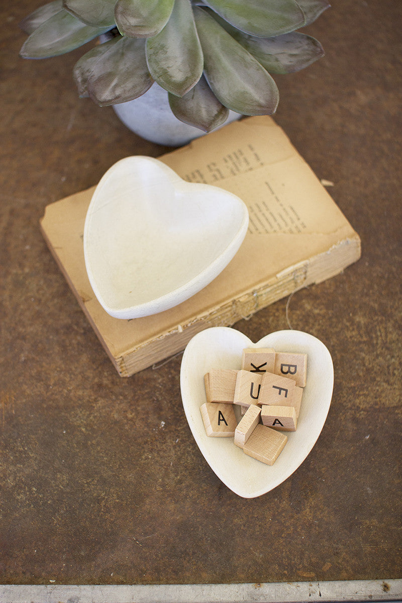 Carved stone heart bowl \ light grey - CityBarnCountryPenthouse
