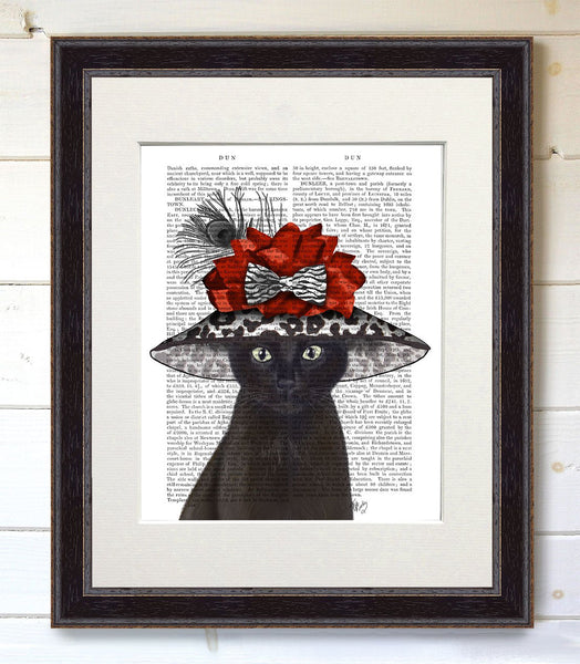 Cat, Black with Fabulous Hat, Book Print - CityBarnCountryPenthouse