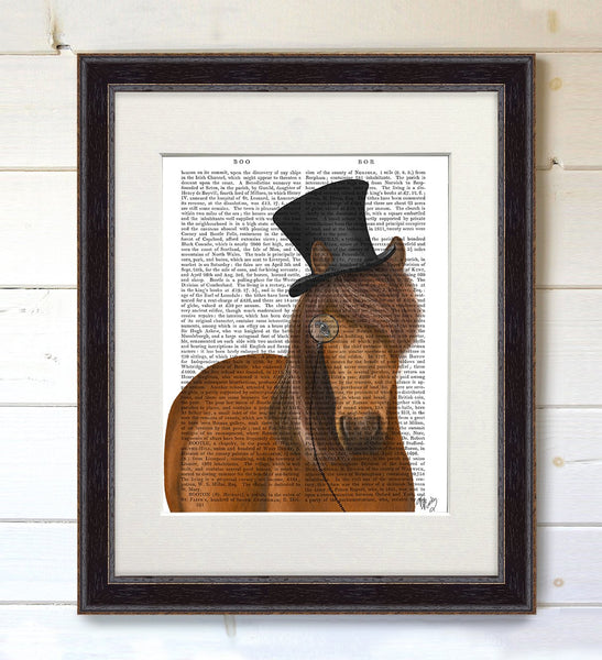 Horse Top Hat and Monocle, Book Print - CityBarnCountryPenthouse
