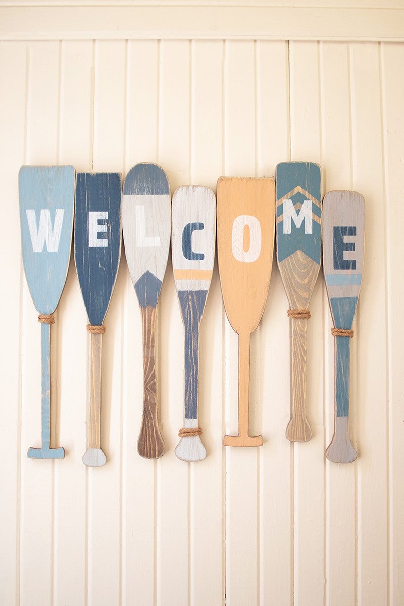 Painted recycled wood welcome boat paddles - CityBarnCountryPenthouse