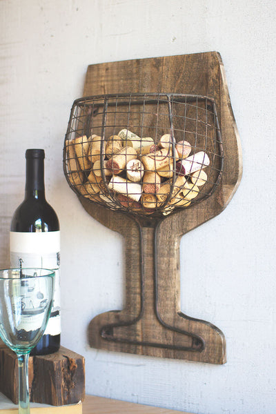 Wood and wire wall wine cork holder - CityBarnCountryPenthouse