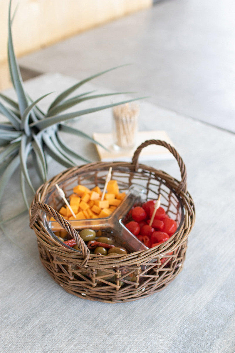 Wicker wrapped glass chip and dip tray - CityBarnCountryPenthouse