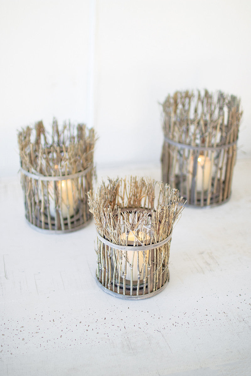 Set of three twig lanterns with glass insert