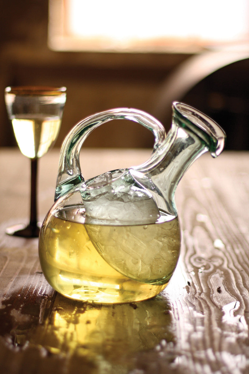 Tilted white wine decanter with ice pocket - CityBarnCountryPenthouse