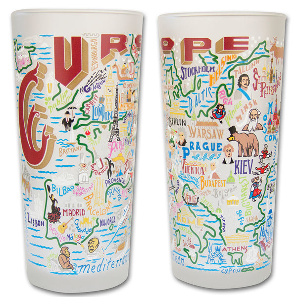 Europe Drinking Glasses - Set Of 2 - CityBarnCountryPenthouse