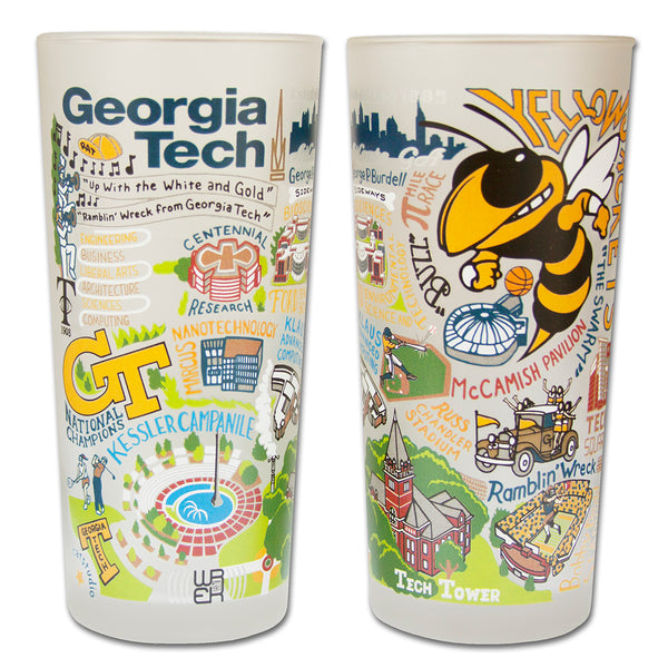 Georgia Tech University Drinking Glasses - Set Of 4 - CityBarnCountryPenthouse