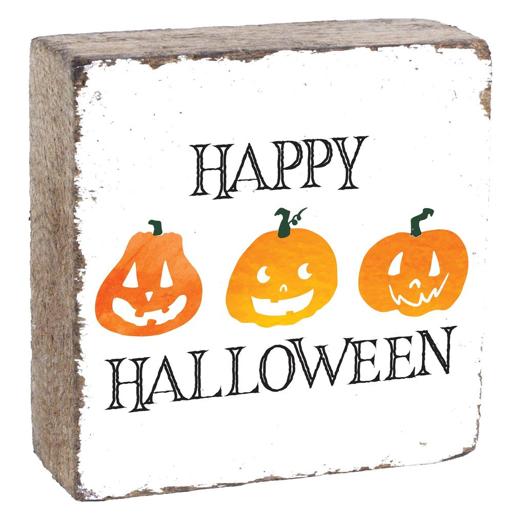 HAPPY HALLOWEEN SQUARE RUSTIC BLOCK - CityBarnCountryPenthouse