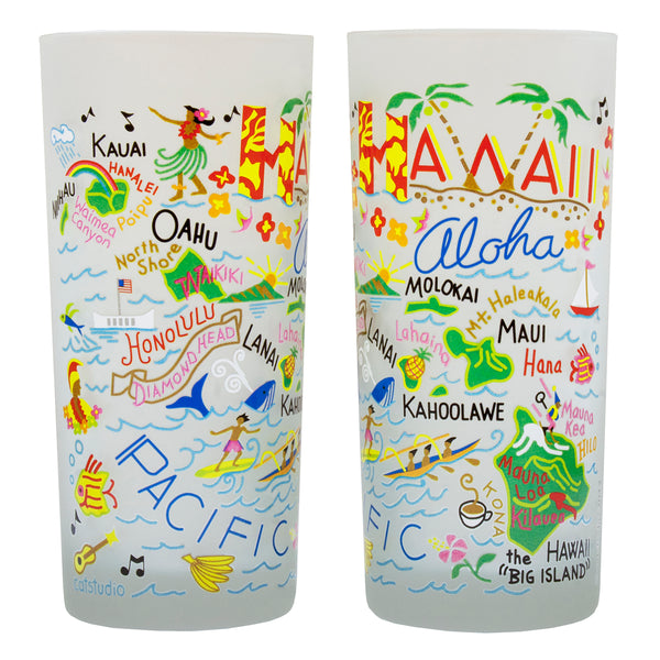 Hawaii Drinking Glasses - Set Of 4 - CityBarnCountryPenthouse