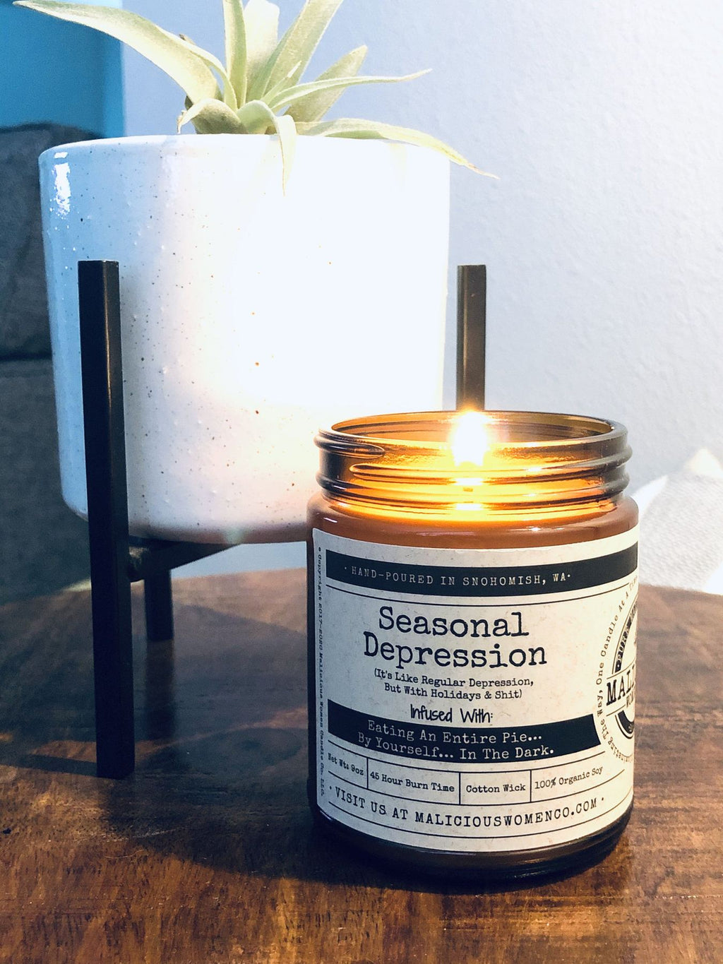"Seasonal Depression (It's Like Regular Depression, But With Holidays & Shit) - Infused With ""Eating An Entire Pie...By Yourself...In The Dark. Scent: Hot Apple Pie - CityBarnCountryPenthouse"