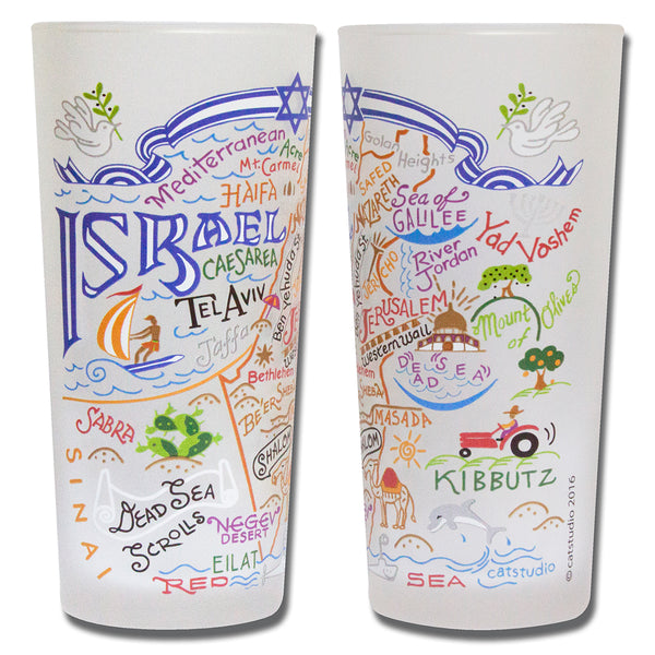 Israel Drinking Glasses - Set Of 4 - CityBarnCountryPenthouse