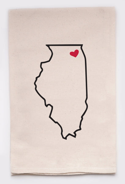 LOVE MY STATE DISH TOWEL - ILLINOIS - CityBarnCountryPenthouse