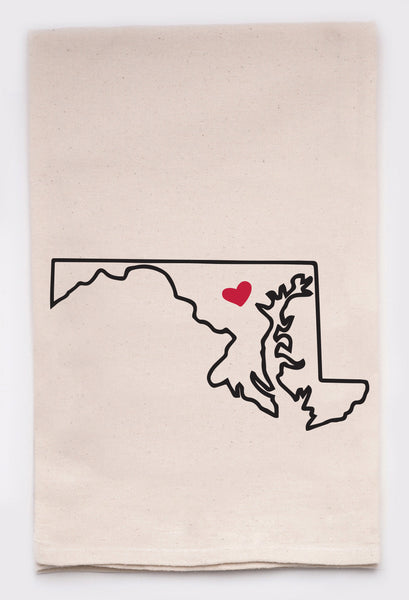 LOVE MY STATE DISH TOWEL - MARYLAND - CityBarnCountryPenthouse