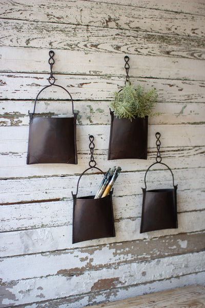 Hanging iron pocket buckets with chain (four) - CityBarnCountryPenthouse