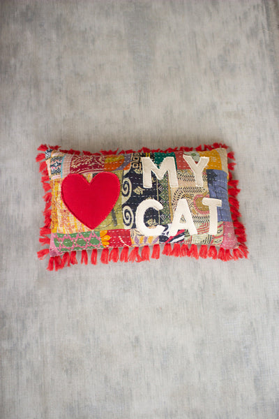 Love my cat kantha pillow - CityBarnCountryPenthouse