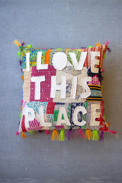 I love this place kantha pillow - City Barn | Country Penthouse