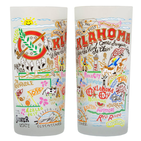 Oklahoma Drinking Glasses - Set Of 4 - CityBarnCountryPenthouse