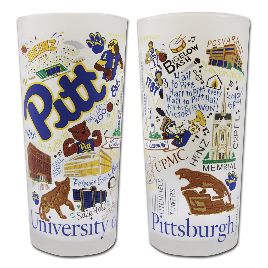 University Of Pittsburgh (Pitt) Drinking Glasses - Set Of 4 - CityBarnCountryPenthouse