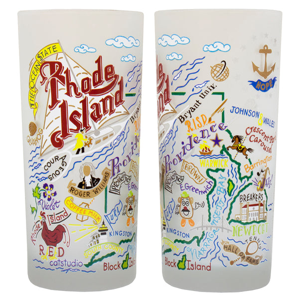 Rhode Island Drinking Glasses - Set Of 4 - CityBarnCountryPenthouse