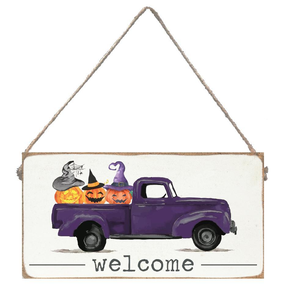 Welcome Jack O Lantern Truck Mini Plank - CityBarnCountryPenthouse