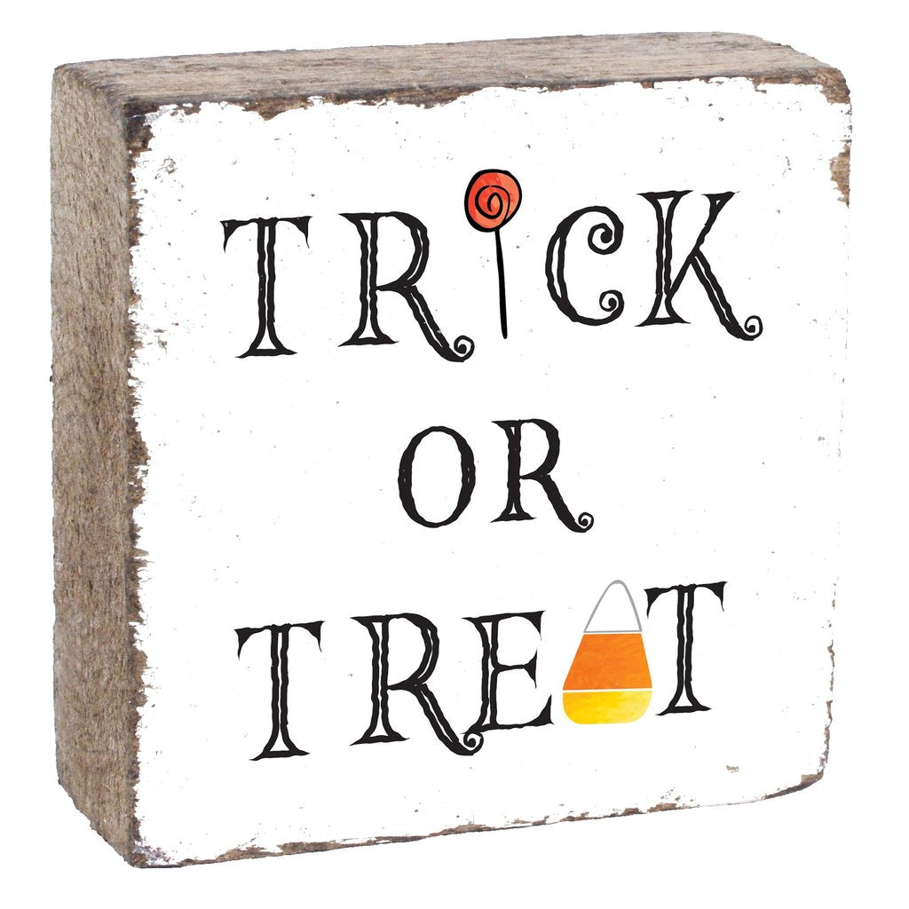 TRICK OR TREAT SQUARE RUSTIC BLOCK