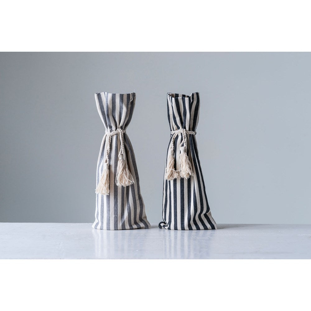 Cotton Striped Wine Bag w/ Tassels - CityBarnCountryPenthouse