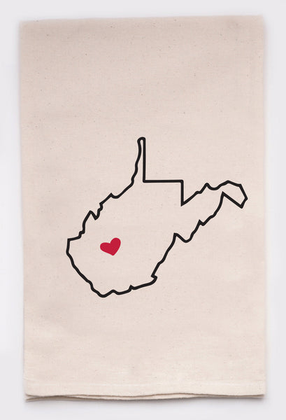 LOVE MY STATE DISH TOWEL - WEST VIRGINIA - CityBarnCountryPenthouse