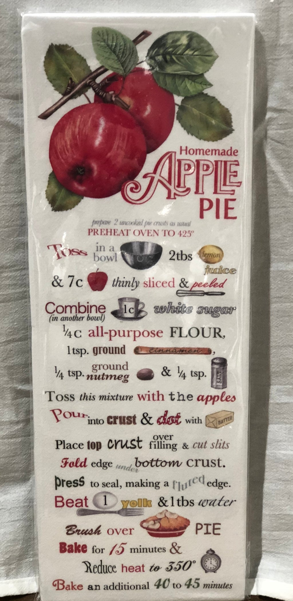 Homemade Apple Pie Recipe Towel - CityBarnCountryPenthouse
