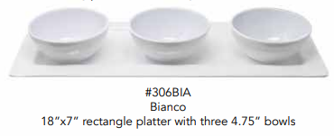 "BIANCO RECTANGLE PLATTER 18 X 7"" WITH 3 BOWLS SET - CityBarnCountryPenthouse"