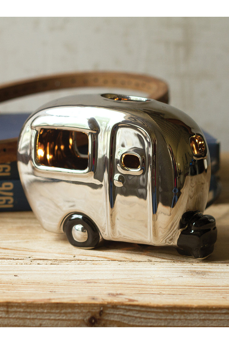 Silver ceramic camper lamp - CityBarnCountryPenthouse