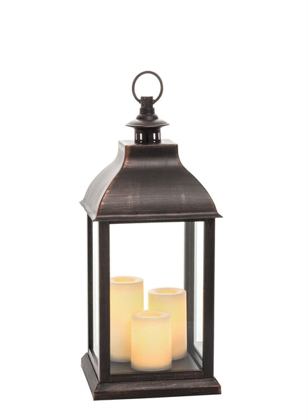 JUMBO LANTERN W 3 PILLAR CANDLES - CityBarnCountryPenthouse