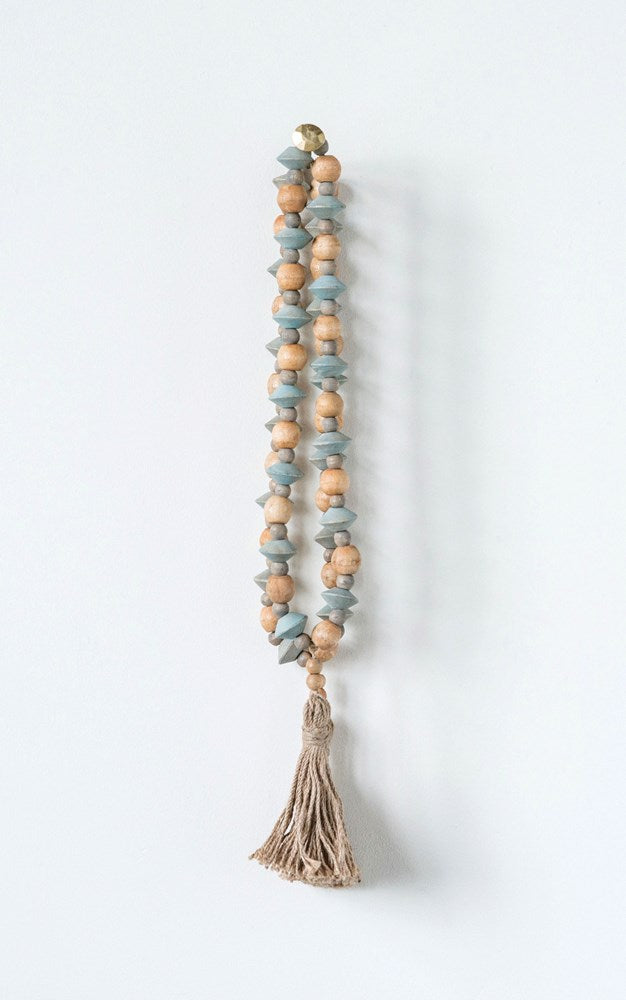 Abaca wood bead strand w/ tassel - City Barn | Country Penthouse