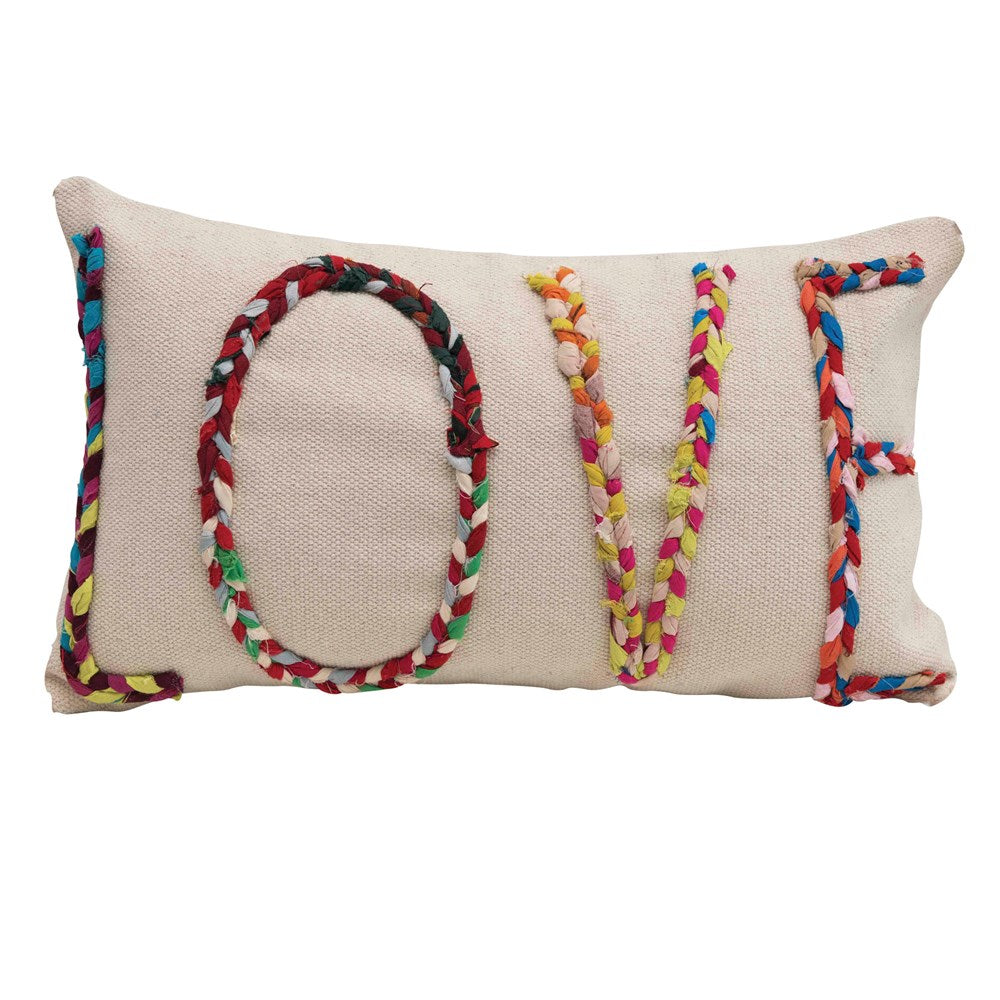 LOVE Lumbar Pillow w/ Chindi Fabric Applique