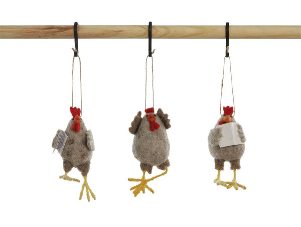 Wool Felt Chicken Ornament - CityBarnCountryPenthouse
