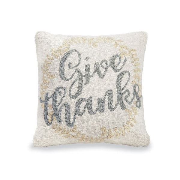 GIVE THANKS HOOKED WOOL PILLOW - CityBarnCountryPenthouse