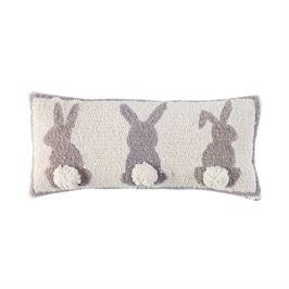 GRAY TRIPLE BUNNY HOOKED WOOL PILLOW - CityBarnCountryPenthouse