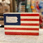 Pennsylvania AMERICAN FLAG XL RUSTIC BLOCK - CityBarnCountryPenthouse