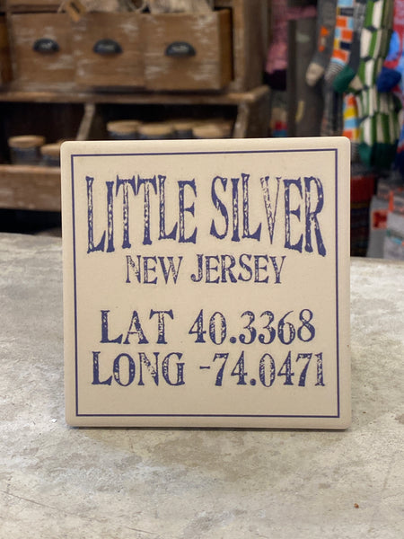 Little Silver New Jersey lat/long Coaster - CityBarnCountryPenthouse