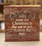 All I Want For Christmas Wood Wall Art - Red Reclaimed with Cream - CityBarnCountryPenthouse