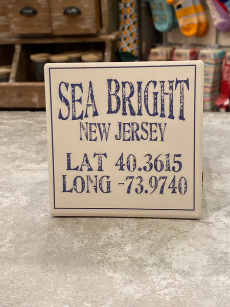 Sea Bright New Jersey lat/long Coaster - CityBarnCountryPenthouse