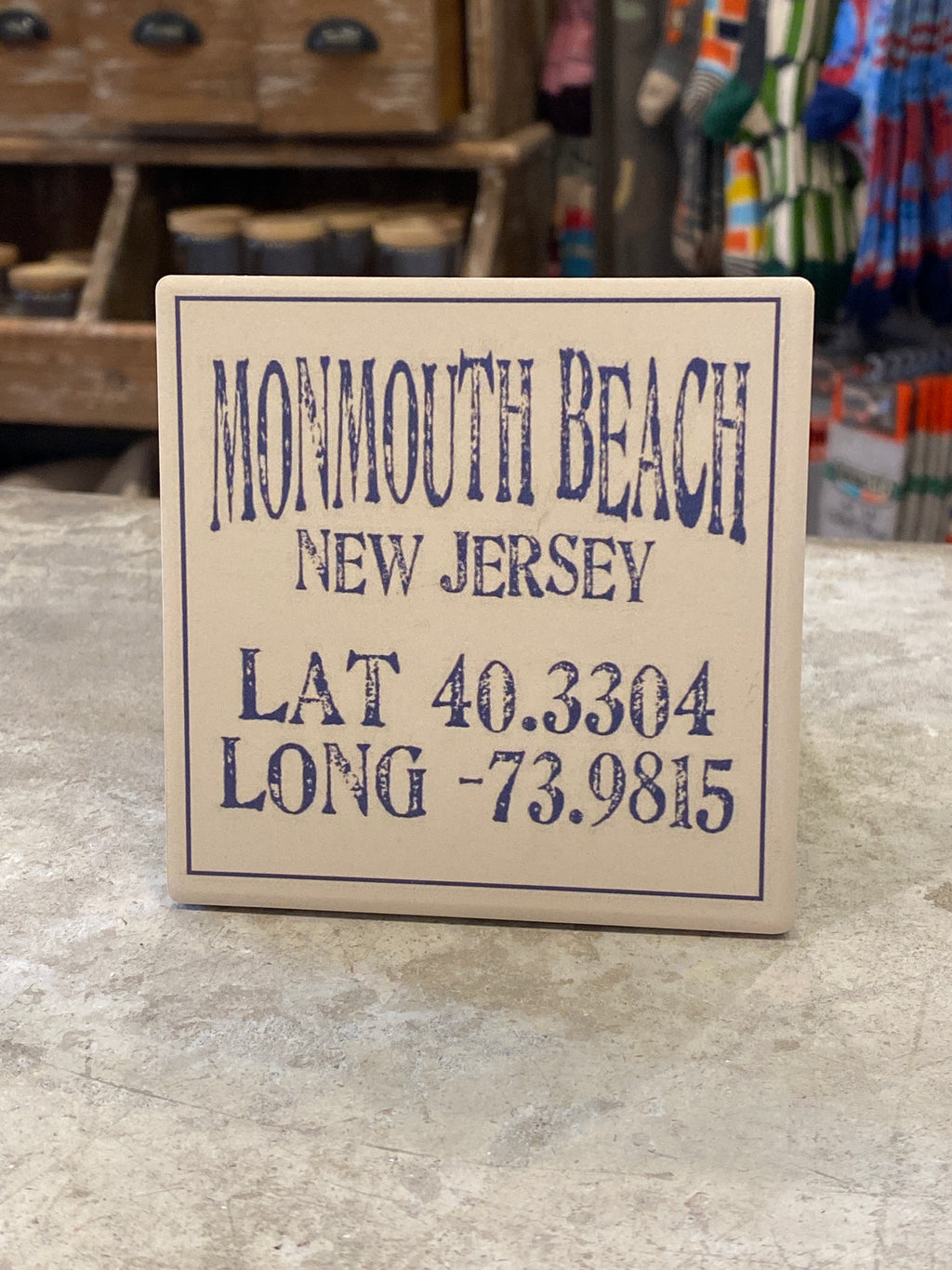 Monmouth Beach New Jersey lat/long Coaster - CityBarnCountryPenthouse