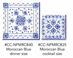 GIFT SET PATTERNED PAPER DINNER AND COCKTAIL NAPKINS WITH RIBBON AND TAG MOROCCAN BLUE - CityBarnCountryPenthouse