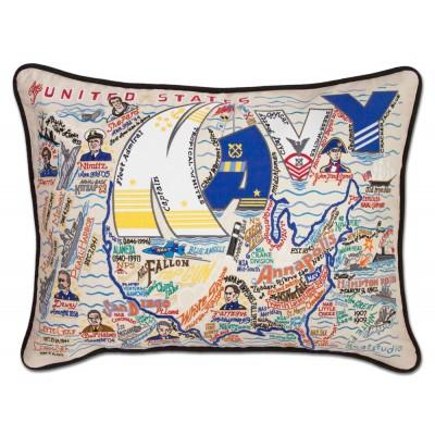 Navy Embroidered Pillow - CityBarnCountryPenthouse