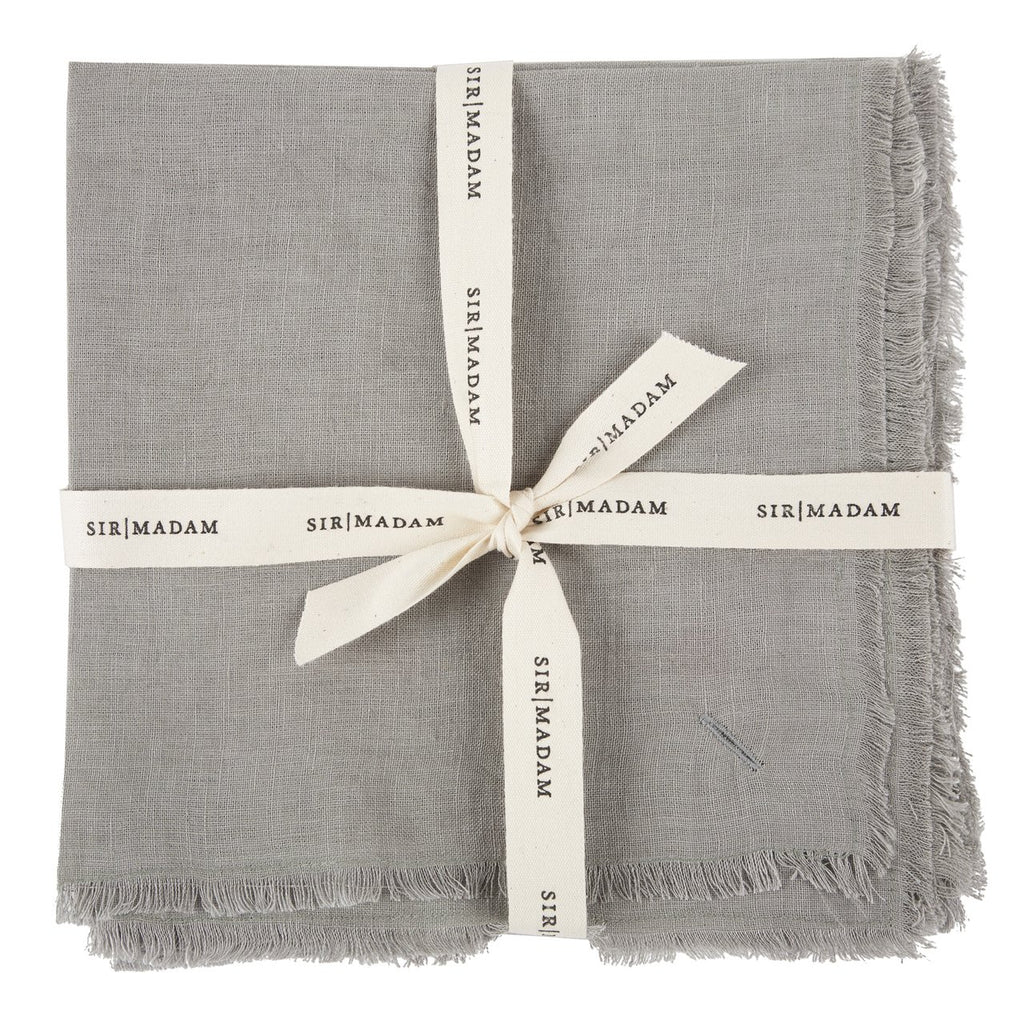 SOLID LINEN NAPKINS, DOVE, SET OF 4 - CityBarnCountryPenthouse