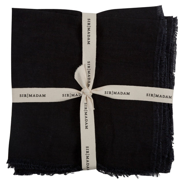 SOLID LINEN NAPKINS, FADED BLACK, SET OF 4 - CityBarnCountryPenthouse